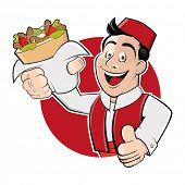 foto of kebab  - funny cartoon man in a badge is serving kebab doner - JPG
