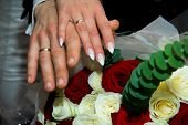 Hands With Wedding Rings And Fowers Bouquet