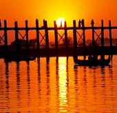 famous tick  bridge at sunset in Myanmar