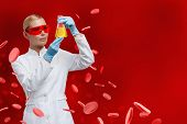 Woman doctor hands Erlenmeyer flask with yellow water on red blood cells background