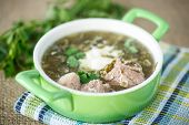 foto of sorrel  - sorrel soup with meat and sour cream in a dish - JPG