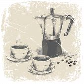 hand drawing of coffee maker and two cups of coffee with grunge frame. vector illustration