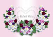 White hearts with a wreath of flowers on a pink background