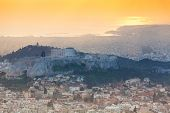 Panorama during sunset in  Athens, Greece