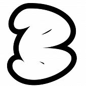 larger black and white line render of graffiti alphabet bubble font b