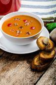 Goulash Soup With Crispy Garlic Toast