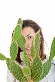 Woman With Cactus In Flowerpot Isolated On White Background Looking Through Cactus Plant