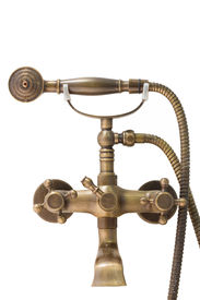 picture of douching  - beautiful vintage brass douche isolated on white background - JPG