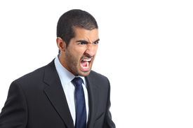 image of arab man  - Angry arab business man shouting isolated on a white background - JPG
