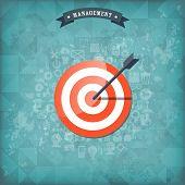 image of bullseye  - Flat target with web application icons - JPG