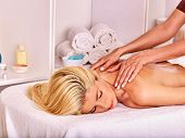 picture of beauty parlour  - Blond beautiful woman getting  back massage - JPG