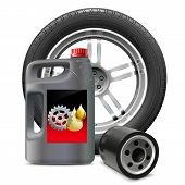 picture of lube  - Flask with engine oil and oil filter - JPG
