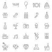 stock photo of pinata  - Party line icons set - JPG