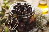 pic of kalamata olives  - jar with pickled kalamata olives - JPG