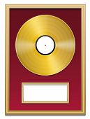 picture of plaque  - Gold record with blank plaque that can be labeled - JPG