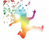 pic of leaping  - Colorful abstract illustration of a Young Man dancing and Leaping through a haze of musical notes and summer blurs - JPG