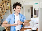 stock photo of draft  - Man working with drafts in office - JPG
