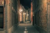 picture of medieval  - Scenic cityscape with a medieval fairytale town at night in Bruges - JPG