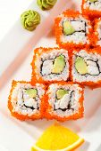 image of cucumber  - California Maki Sushi with Masago   - JPG