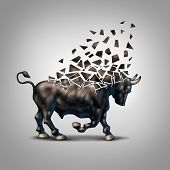 stock photo of crisis  - Fragile bull market financial crisis concept as an economic symbol for a crumbling positive forecast and investments falling apart due to valuation loss in the stock market - JPG
