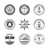 picture of marines  - Sea port marine transport and cruise shipping label set isolated vector illustration - JPG