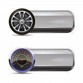 image of speedometer  - Tire service horizontal banners set with realistic wheel and speedometer elements isolated vector illustration - JPG