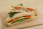 picture of tomato sandwich  - Club sandwich with sausages tomato and cheese - JPG
