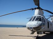 pic of military helicopter  - US Military helicopter on the beach at Coney Island for Fleet Week - JPG