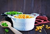 foto of sweet pea  - sweet corn and green peas in bowl