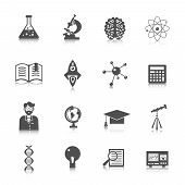 picture of experiments  - Science and research icon set with laboratory experiment equipment and education signs isolated vector illustration - JPG