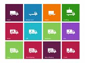 stock photo of food truck  - Delivery and truck icons on color background - JPG