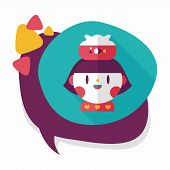 picture of long-fish  - Pet Fish And Girl Friendship Flat Icon With Long Shadow - JPG