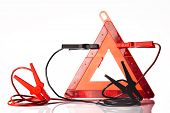 stock photo of rectifier  - warning triangle and road emergency items isolated on white - JPG