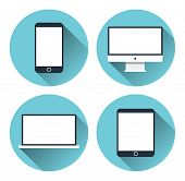 stock photo of tablet pc computer  - Set of icons of modern electronic devices - JPG