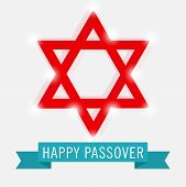 foto of passover  - illustration for Happy Passover with blue ribbon - JPG
