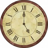 stock photo of roman numerals  - Vector illustration of an antique clock with Roman numerals on the dial - JPG