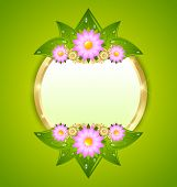 foto of plaque  - Flower plaque template with copy space for your custom text - JPG