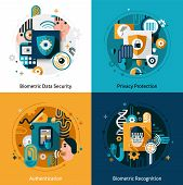 stock photo of dna fingerprinting  - Biometric authentication design concept set with privacy protection data security and recognition flat icons isolated vector illustration - JPG