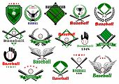 Постер, плакат: Baseball emblems or logo with game equipments