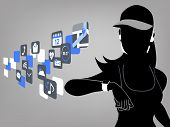 picture of watch  - Fitness woman looking at smart watch touchscreen and app icons - JPG