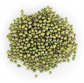 picture of mung beans  - Close up of mung beans isolated on white background - JPG
