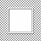 foto of dots  - Black and White Polka Dot Background with Frame with center for copy - JPG