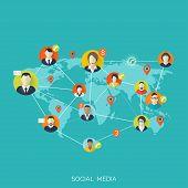 foto of avatar  - Flat social media and network concept - JPG