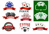 Постер, плакат: Casino and poker emblems or badges