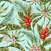 pic of jungle flowers  - Seamless pattern with tropical flowers in watercolor style - JPG