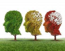 stock photo of headings  - Memory loss and brain aging due to dementia and alzheimer - JPG