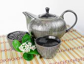 stock photo of teapot  - Ceramic cups and teapot with green tea - JPG