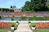 stock photo of kensington  - The beautiful gardens of Kensington palace in London  - JPG
