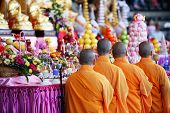 stock photo of monk fruit  - monks ready for the ceremony at brisbane australia - JPG