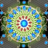 pic of precious stone  - illustration background with a circular gold ornaments with precious stones - JPG